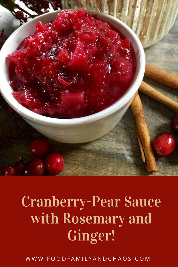 cranberry-pear sauce with rosemary and ginger