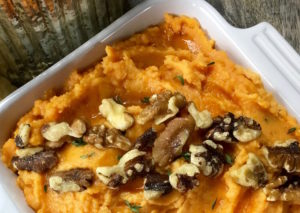 creamy mashed sweet potatoes with thyme