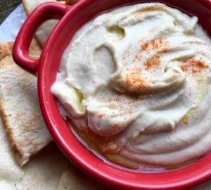 white bean dip with seasoned pita chips